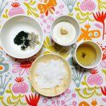 離乳食奮闘メモ。9ヶ月半 とある晩ご飯。ごま豆腐と野菜のおひたし?